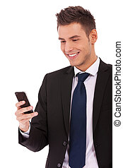 business man reading an SMS