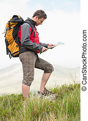 Handsome hiker with backpack walking uphill reading a map