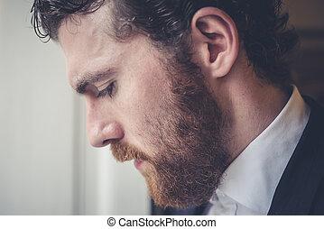 handsome hipster elegant man - handsome bearded hipster ...