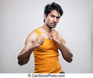 Indian man prepared to fight