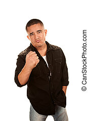 Handsome Latino Man Showing Fist