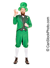 handsome leprechaun in green suit and hat with ok sign, isolated on white