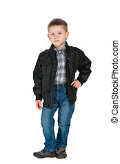 Handsome little boy in a jacket