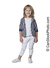 Handsome little boy posing on white background