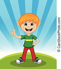 Handsome little boy tumbs up with background cartoon