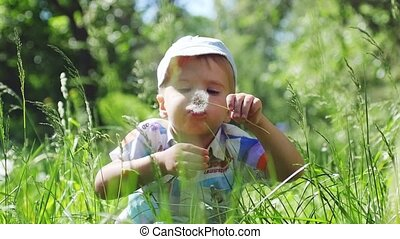 Handsome little cute boy wearing cap blowing dandelions sits on the grass in the park in sunny summer day in slow motion. 1920x1080