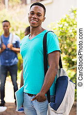 male african american university student looking at the camera