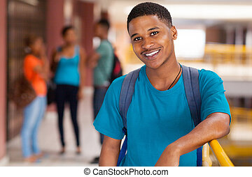 male african college student - handsome male african college...