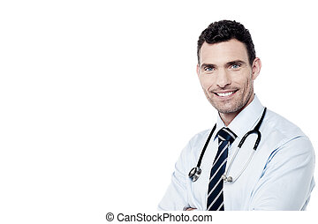 Handsome male doctor with stethoscope