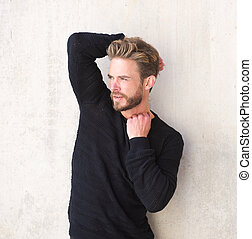 Handsome male fashion model with beard