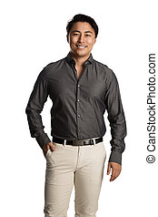 Handsome male in a grey shirt smiling