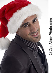 handsome male in christmas hat