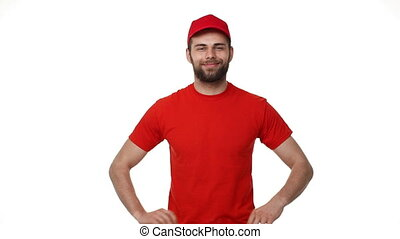 handsome male service industry worker deliveryman in uniform...