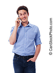 Handsome male talking on the mobile phone