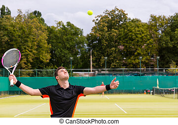 Handsome male tennis player are serving on a court