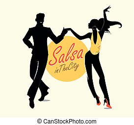 Handsome man and beautiful girl dancing latin music