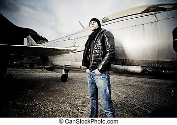 Handsome Man and his fighter plane