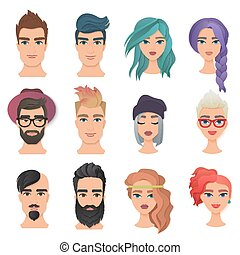 Handsome Man and young beautiful woman portrait avatar face set vector illustration. Trendy paper layered cut art. Origami beauty fashion concept logo.