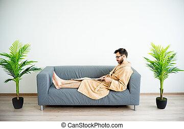 Handsome man at spa