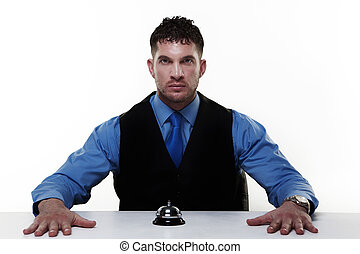 handsome man - businessman sitting at a desk with a call ...