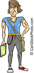 handsome man cartoon illustration