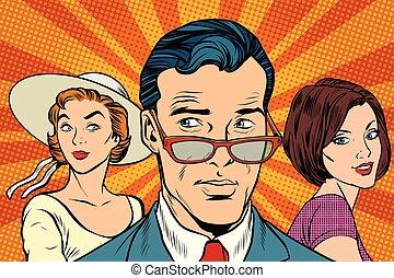 Handsome man choosing between two women