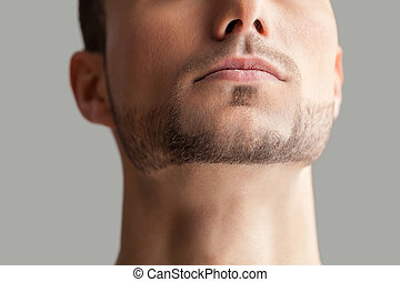 Handsome man. Cropped image of handsome young beard man isolated on grey background