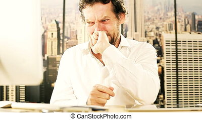 Handsome man crying for problem
