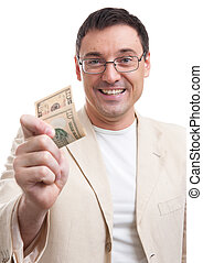 man gives a tip - handsome man gives a tip. Isolated on ...