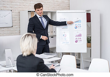 Handsome Man Giving Business Presentation in Office