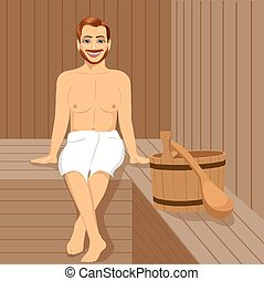 Handsome man having sauna bath in steam room - Handsome man...