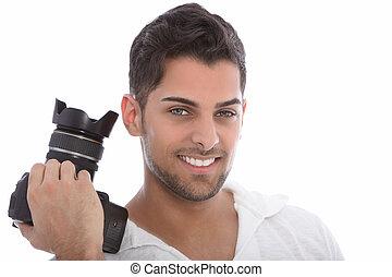Handsome man holding a dslr camera