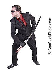 Handsome man holding katana sword