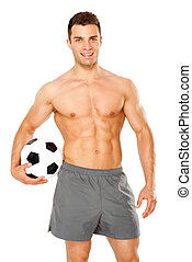 Handsome man holding soccer ball on white