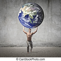 man holding world