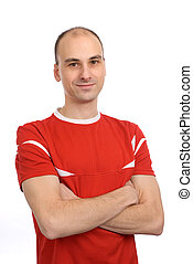 handsome man in a red t-shirt. isolated over white