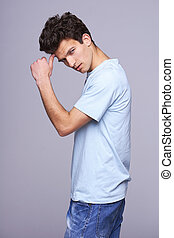 Handsome man in blank blue t-shirt