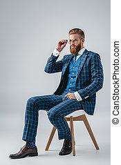 handsome man in blue suit