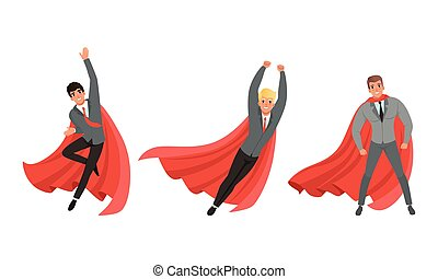 Handsome Man in Formal Suit and Red Cape or Cloak in Different Poses Vector Illustration Set
