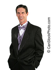Handsome Man In Tuxedo - A handsome man, either a bridegroom...