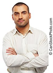 Handsome man in white shirt isolated on white background