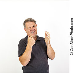 man looking at camera. Isolated over white