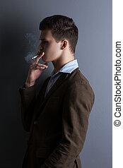 Handsome man on blue background