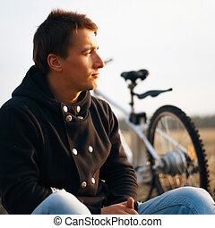 Handsome man outdoors portrait