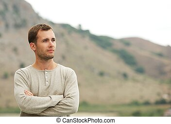 Handsome man outdoors
