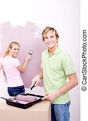 handsome man painting