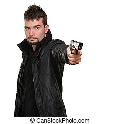 handsome man pointing with gun