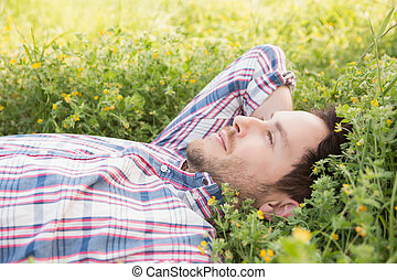 Handsome man relaxing in field