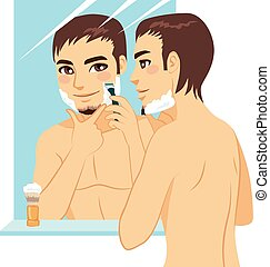 Handsome Man Shaving - Handsome man shaving his face with...