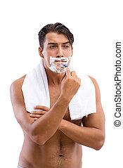 Handsome man shaving isolated on white background